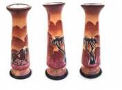 Katangi Handcrafts Hand Painted Soapstone Narrow Vase - Lion Sunset - Brown