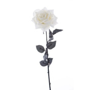 Large Velvet Single Cream Artificial Rose Stem 70cm