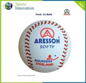 Qty 2 - Aresson SOFTY Rounders Balls - Soft Leather Rounders Balls