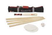 Rounders Set - This standard Rounders Set comes with a wood rounders bat with a rubber grip, a leather rounders ball, 4 wooden posts, and 2 rubber disc mats. This set comes in a nylon transport bag. Everything required to play this classic ..