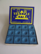 """Box of 12 Blue Triangle """"King of them all"""" Pool and Snooker Table Chalks,"""