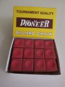Box of 12 Red Pioneer Tournament Quality Pool and Snooker Table Chalks,