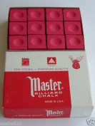 Master Pool Snooker Table Cue Chalk RED Master Chalk 12 Cubes