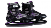 Ultrasport Women's Runner Guards Ice Skates - Black/Purple, Size 5 - 5.5 (EU