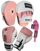 Curved pink Focus pads set, Hook & Jab Pads, Gloves & hand wraps