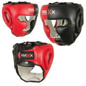 Max Black/Red Rex Leather Full Face Boxing mma Head Guard sizes small- xlarge