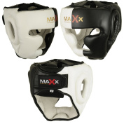 Max Black/White Rex Leather Full Face Boxing mma Head Guard sizes small- xlarge