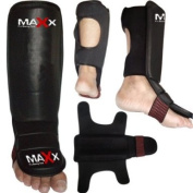 pair of Genuine Leather Boxing shin Guard Instep Pad Leg protectors