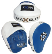 Maxx Rex Leather Curved Focus Pads MMA Boxing PINK , Black White . Red . Blue Martial ART Kick Boxing