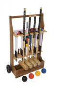 """Executive Croquet Set with Wooden Trolley - Contains 2 sizes of ash wood mallet; 5.1cm x 90cm and 2 x 38."""" The set also includes 4 composite balls, 6 club steel hoops, hoop smasher, clips, flags and a centre peg. All in a Wooden Storage and Dis .."""