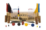 Garden Croquet Set with Wooden Box - Contains 2 sizes of mallets, 5.1cm x 90cm and 5.1cm x 100cm . The set also includes 4 wooden balls, 6 steel hoops, a hoop smasher, corner flags, croquet clips and a hardwood centre peg. All in a wooden storage box. ..