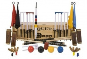 """Championship Croquet Set with Wooden Box - Contains 2 sizes of rosewood mallet; 5.1cm x 90cm and 2 x 38."""" The set also includes 4 470ml composite balls, 6 club steel hoops, hoop smasher, clips, flags and a centre peg. All in a wooden storage box .."""