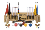 """Executive Croquet Set with Wooden Box - Contains 2 sizes of ash wood mallet; 5.1cm x 90cm and 2 x 38."""" The set also includes 4 composite balls, 6 club steel hoops, hoop smasher, clips, flags and a centre peg. All in a wooden storage box."""