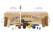 Family Croquet Set with Wooden Box - Contains 4 different sizes of croquet mallets, 60cm , 70cm , 90cm and 100cm . The set also includes 4 wooden croquet balls, 6 steel hoops, 4 croquet clips and a hardwood centre peg. All in a wooden storage box. ..