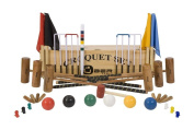 """6 Player Pro Croquet Set with Wooden Box - Contains 2 sizes of hardwood mallet; 5.1cm x 90cm and 4 x 38."""" The set also includes 6 composite balls, 6 steel hoops, hoop smasher, markers, clips, flags and a centre peg. All in a wooden storage box. .."""