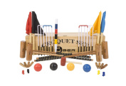 """Pro Croquet Set with Wooden Box - Contains 2 sizes of mallet; 5.1cm x 90cm and 2 x 38."""" The set also includes 4 composite balls, 6 steel hoops, a hoop smasher, markers, clips, corner flags and a hardwood centre peg. All in a wooden storage boc. .."""