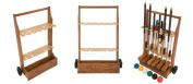 """Pro Croquet Set with Wooden Trolley - Contains 2 sizes of mallet; 5.1cm x 90cm and 2 x 38."""" The set also includes 4 composite balls, 6 steel hoops, a hoop smasher, markers, clips, corner flags and a hardwood centre peg. All in a wooden storage .."""