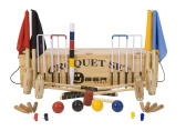 """Junior Executive Croquet Set with Wooden Box - Contains 2 junior sizes of ash wood mallet; 5.1cm x 60cm and 2 x 28."""" The set also includes 4 composite balls, 6 steel hoops, yard markers, clips, flags and a centre peg. All in a wooden storage bo .."""