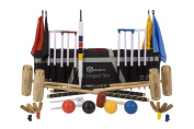 """Executive Croquet Set with Tool Kit Bag - Contains 2 sizes of ash wood mallet; 5.1cm x 90cm and 2 x 38."""" The set also includes 4 composite balls, 6 club steel hoops, hoop smasher, clips, flags and a centre peg. All in a canvas tool kit storage .."""