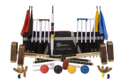 """Championship Croquet Set with Tool Kit Bag - Contains 2 sizes of rosewood mallet; 5.1cm x 90cm and 2 x 38."""" The set also includes 4 470ml composite balls, 6 club steel hoops, hoop smasher, clips, flags and a centre peg. All in a canvas tool kit .."""