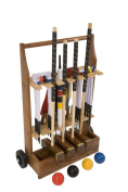 """Championship Croquet Set with Wooden Trolley - Contains 2 sizes of rosewood mallet; 5.1cm x 90cm and 2 x 38."""" The set also includes 4 470ml composite balls, 6 club steel hoops, hoop smasher, clips, flags and a centre peg. All in a wooden storage .."""