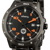 INFANTRY Mens Date Display Analogue Wrist Watch Sport Black Stainless Steel Bracelet Strap Orange #IN-010-O-S