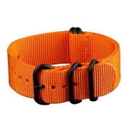 INFANTRY G10 5 Rings Military Orange ZULU Watch Band Fabric Nylon Strap Black Hardware 22mm Strong Divers #WS-ZULU-BO-22M