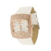 Lady Crocodile Print White Band Rhinestone Decor Wrist Watch