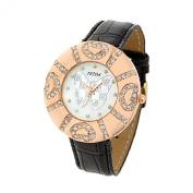 Fashion Jewellery Black Faux Leather Strap Round Watchcase Quartz Watch
