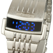 INFANTRY Mens Digital Wrist Watch Blue LED Light Date Display Military Sport Silver Stainless Steel New #IN-034-S-S