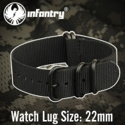 INFANTRY G10 5 Rings Military FOREST CAMO ZULU Watch Band Fabric Nylon Strap Black Hardware 22mm Strong Divers #WS-ZULU-FST-22M