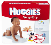 Huggies Snug & Dry Nappies, Size 3, Giant Pack, 156 Count