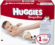 Huggies Snug & Dry Nappies, Size 1, 258 Count