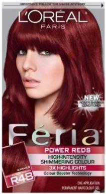 L Oreal Feria Power Reds Hair Colour R48 Intense Deep
