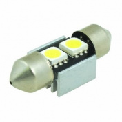 (2 pcs) LED CANBUS 2 pcs 5050 SMD LEDs Festoon Bulb with Aluminium Housing 31mm Base 12V Natural White 6000K