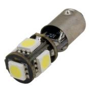 (2 pcs) LED CANBUS 5 pcs 5050 SMD LEDs Bulb BA9S Base 12V Natural White 6000K