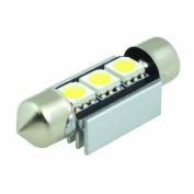 (2 pcs) LED CANBUS Festoon 3 pcs 5050 SMD LEDs Bulb with Aluminium Housing 36mm Base 12V Natural White 6000K