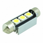 (2 pcs) LED CANBUS Festoon 3 pcs 5050 SMD LEDs Bulb with Aluminium Housing 39mm Base 12V Natural White 6000K