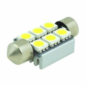 (2 pcs) LED CANBUS Festoon 6 pcs 5050 SMD LEDs Bulb with Aluminium Housing 36mm Base 12V Natural White 6000K