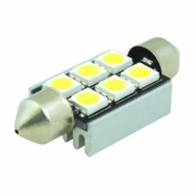 (2 pcs) LED CANBUS Festoon 6 pcs 5050 SMD LEDs Bulb with Aluminium Housing 39mm Base 12V Natural White 6000K