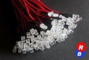 50Pcs x 5mm RB Pre Wired Led flash Light Red Blue flash led