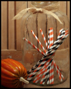 Halloween, Vintage Candy Striped Paper Drinking Straws 50 Ct.-Twilight Parties-