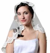 Pampered Bride Ivory Mantilla Bridal Wedding Lace Veil 35x28