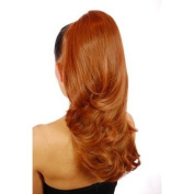 Long Wavy Dual Wear Style Pony Tail Hairpiece in Caramel Mid Brown 41cm Long.