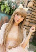 2013 Fashion Long Straight Heat Resistant As Real Human Hair Wig Wigs Milk Tea K054