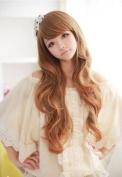 Elegant Womens Long Full Wavy Diagonal Bangs Light Brown Wigs