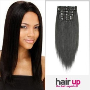 38cm Inch Clip In On Human Hair Extensions_7pcs Natural Black_1b_Remy Human Hair Full Head Straight_70g Weight