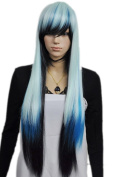 Yazilind Fancy-Dress Party Long Straight Blue Black Mix Full Hair Cosplay Anime Costume Wig