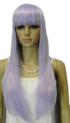 Yazilind Sweet Lady's Long Light Purple Lavender Straight Full Bangs Heat Resistant Fibre Synthetic Hair Cosplay Anime Costume Wig