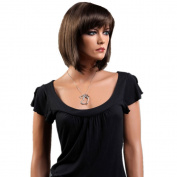 CoolShort Bob Dark Brown Natural Straight Full fringe bangs hairstyle Hair Style Women Wig